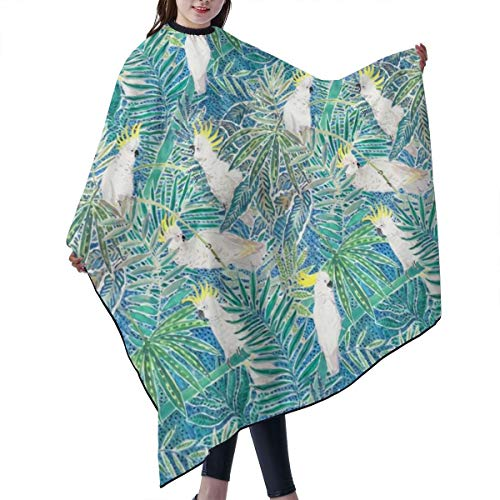 Barber Cape,Cockatoos In Tropical Palm Trees Watercolor Salon Polyester Cape Haircut Apron 55