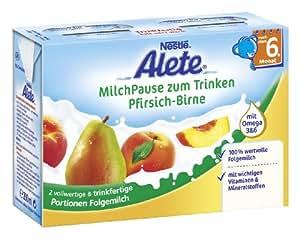 Alete MilchPause zum Trinken Pfirsich-Birne - nach dem 6. Monat, 6er Pack (6 x 400 ml)
