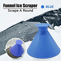 LJNH Windshield Ice Scraper, Multi-function Car Fueling Funnel Windshield Wiper Cone Shaped Outdoor Windshield Magic Snow Remover Car Tool (Blue)