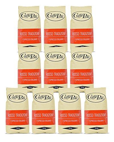 Caffè Poli Rosso Tradizione Espresso Italiano   Hervorragend für Kaffeevollautomaten, Siebträger und Espressomaschine   Kaffee-Bohnen aus Italien (10 x 1 kg Packung)