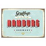 Cuadros Lifestyle Wanddekoration Blechschild - Hamburg, Größe:ca. 45x30cm