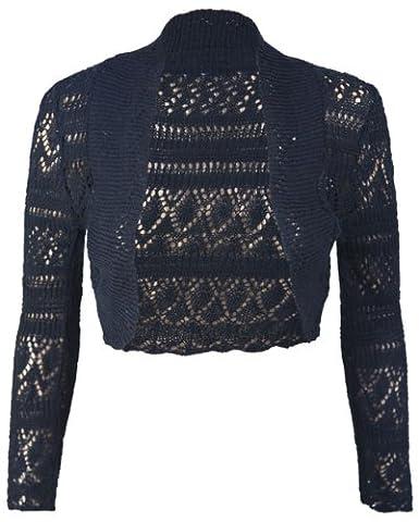 Purple Hanger - Boléro Tricot Manche Longue Crochet Court Ouvert Cardigan Neuf - EU 40 - 42, Noir
