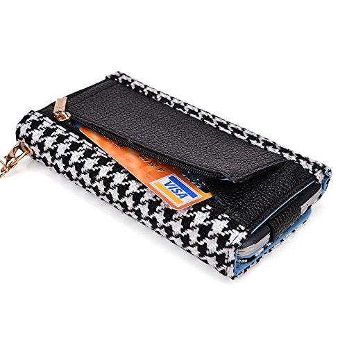 Kroo, la poche case Wallet Wristlet cuir Convient pour Microsoft Lumia 535/535Dual SIM bleu/rouge Black Houndstooth and Black