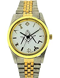 Boxx Masonic Gents - Boys White Dial Two Tone Metal Bracelet Strap Dress Watch