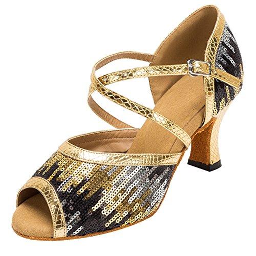 Meijili Womens Gole Glitter Sequins Evening Bridal Shoes Ballrom Latin Dance Sandals UK 5 (Platform Sequin Wedge)