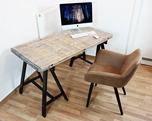 Schreibtisch Bürotisch Industrie Look Computer Tisch Vintage Massiv Holz Loft (Natur (Nur Matt Lackiert)) (Computer Schreibtisch Natur)