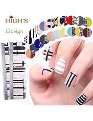 HIGH'S Exclusive Design Series Manucure Ongles Autocollants Nail Wraps, Ville en blanc et noir