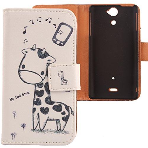 Lankashi PU Flip Leder Tasche Hülle Case Cover Schutz Handy Etui Skin Für Sony Xperia V Lt25i Giraffe Design
