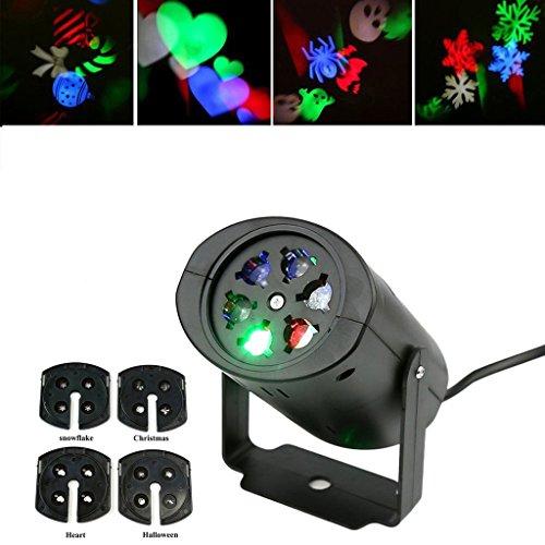 Proiettore Luce di Paesaggio Lampada LED per la Festa Natale o Il Matrimonio Lampada Decorativa all'Aperto IP44 con 4 pitture - Gobo Set