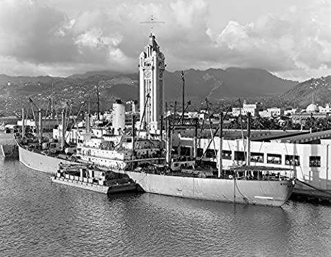 Vintage Images – 1930s Ship Freighter At Dock By Aloha Tower Built 1926 Port Of Honolulu Hawaii Fine Art Print (27.94 x 35.56 cm)