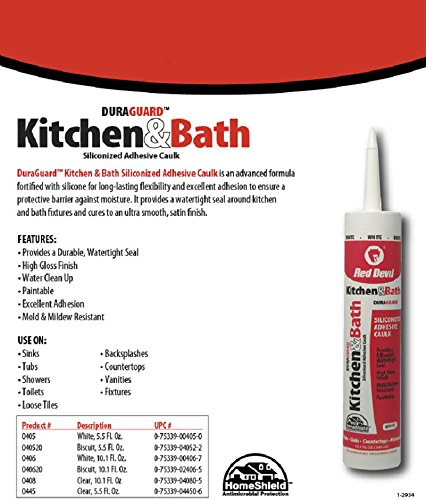 Red Devil 040520 Kitchen & Bath Siliconized Acrylic Caulk, Almond, 5.5-Ounce by Red Devil