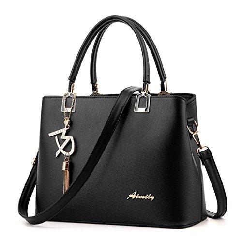 QinMM Mode Frauen Leder Umhängetasche Umhängetasche Umhängetasche Hangbag Rucksäcke Handtasche Schwarz Blau Weiß Lila Rot (Schwarz) (Lila Fossil Handtaschen)