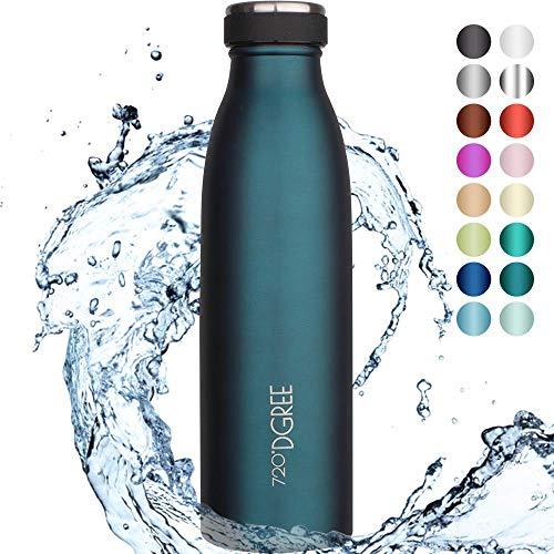 """720°DGREE Edelstahl Trinkflasche \""""milkyBottle\"""" - 500ml - Perfekt für Kinder, BPA-Frei, Auslaufsicher, Kohlensäure geeignet - Kleine Thermosflasche für Sprudel, Sport, Schule, Fitness"""