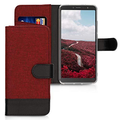 kwmobile Funda para Xiaomi Redmi S2 / Redmi Y2 - Carcasa de Tela y [Cuero sintético] - con Tapa y [Tarjetero] [Rojo Oscuro/Negro]