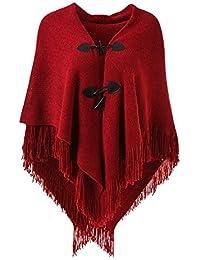 Ferand Poncho-Schal in lässiger Passform mit stylischen Hornknöpfen, V-Ausschnitt und V-Saum für Frauen