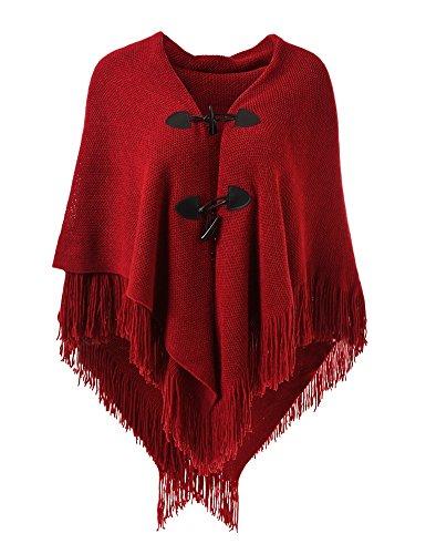 Ferand Poncho-Schal in lässiger Passform mit stylischen Hornknöpfen, V-Ausschnitt und V-Saum für Frauen, Rot