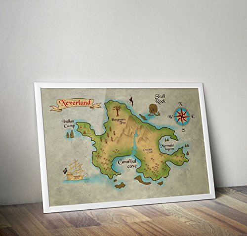 Neverland Karte - Peter Pan - Alternative TV/Movie Prints in verschiedenen Größen (Rahmen nicht im Lieferumfang enthalten)