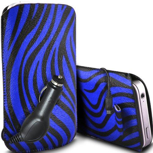 Blau L1 Case Handy Lg (ONX3 LG Optimus L1 II Tri E475 Protective Zebra PU-Leder Pull Cord Schlupf in Pouch Quick Release Case & 12v Micro USB KFZ-Ladegerät (blau und schwarz))
