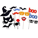 SA 14PCS DIY Halloween Party Card Masks Photo Booth Props Mustache On A Stick