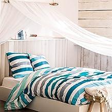 VANCOUVER turquesa - Juego de cama para 1 o 2 personas : Funda Nórdica 200x200 cm + Fundas de almohada 63x63 cm
