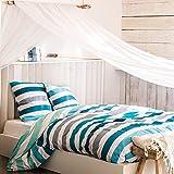 VANCOUVER Turquoise - Parure de lit pour 1 ou 2 personnes : Housse de couette 200x200 cm + Taies d'oreiller 63x63 cm