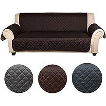 Auralum® Funda de sofá aapta para muchos sofás normales de 3 plazas sofa protector cubierta 167×165cm (Chocolate / Beige)