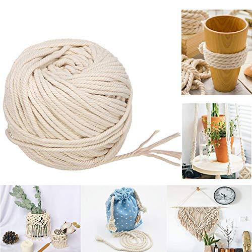 RXYYOS Makramee Garn Baumwollgarn Natur Baumwollkordel Baumwollschnur Rope für DIY Handwerk Basteln Wand Aufhängung Pflanze Aufhänger (5mm x 65 Meter)