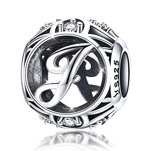 Charm-Anhänger Buchstabe J für Armbänder und Halsketten A-Z 925 Sterlingsilber kompatibel mit Pandora-Armbändern und Halsketten