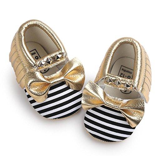 BZLine® Unisexe Bébé Bowknot Chaussures en Coton   Semelle Plate en Tissu   Frange Rivet Chaussures Souples Jaune1