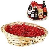 Cesta de Navidad de la mejor categoría. El conjunto incluye bolsa de celofán, lazo y lana de madera.Puedeshacer tu propia cesta de Navidad para regalar comida y vino