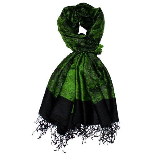 Lorenzo Cana Luxus Damenpashmina Damenschal gruen schwarz Schaltuch aus Seide und Wolle 70 x 190 cm Paisley Muster Schaltuch Stola Umschlagtuch gewebt