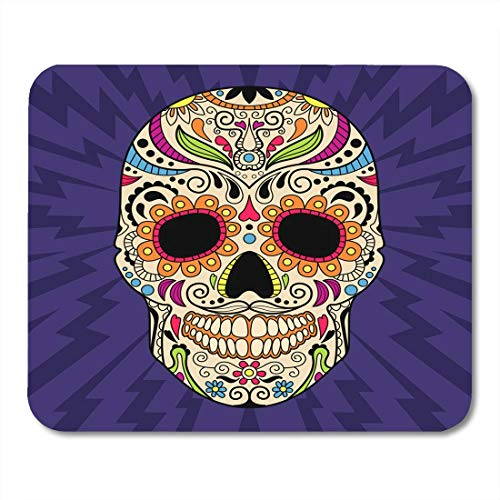 Deglogse Gaming-Mauspad-Matte, Colorful Flower Pink Sugar Mexican Skull The Original Pattern Blue Calavera Red Halloween Mouse Pad,Desktop Computers Mouse Mats,
