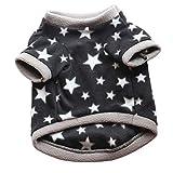 CricTeQleap Haustier Kleidung, Winter weich Haustier Hund Fleece Pullover Stern Muster Mode Welpen Kurzarm Top - schwarz M