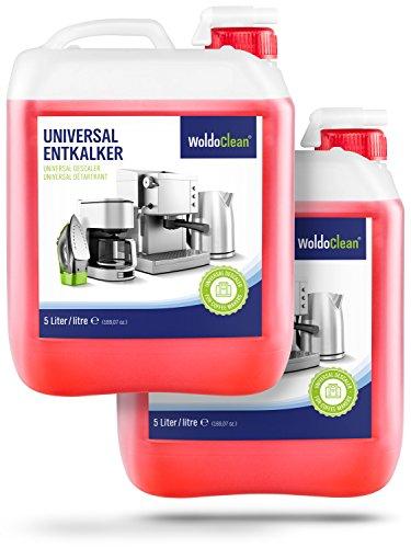 Flüssig-Entkalker für Kaffeevollautomaten Kaffeemaschine Kaffeeautomat Wasserkocher - 2 x 5 Liter Kanister Kalklöser mit Farbindikator inklusive Ausgießer