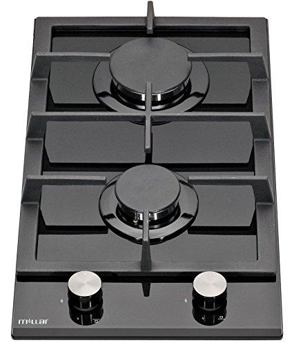 412509bab0a1e3 Amazon Millar. Millar GH3020TB Plaques de cuisson en Verre trempé avec 2  brûleurs à gaz Noir 30 cm Table ...