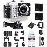 WiMiUS L1 Action Cam 4K Actioncam Wifi 20MP Action Kamera HD 1080P Action Camera 170¡ã Weitwinkel 2 Zoll 30M Unterwasserkamera Wasserdichte Sport Camera mit 2 Akkus (Silber)