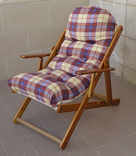 Fauteuil relax maison jardin Relax en bois pliable Coussin Super rembourré H 100 cm séjour cuisine salon canapé réglable 3 positions