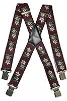 Hosenträger extra starken für Herren mit 4 Clips X-Form - 4cm. Edelweiß-Design