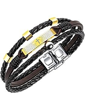 Fate Love Schmuck Bibel Lords Gebet Armband Leder geflochten für Herren, Edelstahl Kreuz Golden Religiöse Schmuck...