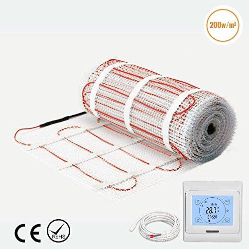Fliesen-heizungs-matte (1.5m² premium qualität 200w/m² fußbodenheizung matte dual-core elektrische kabel, größe unter fliesen heizung boden selbstklebende matte(1.5m ² matte + touchscreen thermostat))