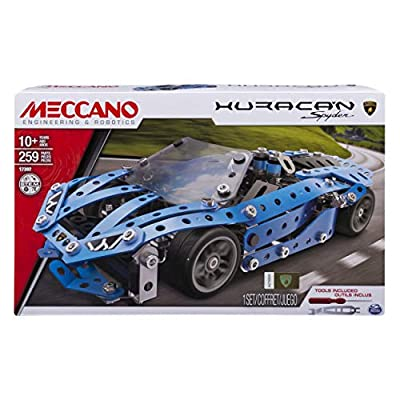 Meccano-Erector Sports Car Set (Styles Vary) Pagani Huayra Roadster, Ferrari F12tdf, Lamborghini Huracan Spyder, Chevrolet Corvette