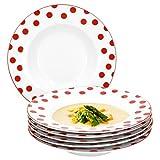 Van Well 6er Set Suppenteller Funny | edler Porzellan Menü-Teller | tiefer Essteller rund | weiß mit roten Punkten