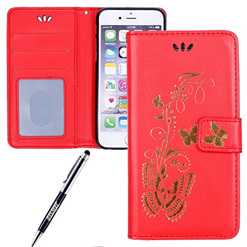 JAWSEU Coque pour iPhone 6 Plus/6S Plus 5.5,iPhone 6 Plus Portefeuille Coque en Cuir,iPhone 6S Plus Cover Flip Wallet Case Ultra Slim,2017 Neuf Femme Homme Luxury Retro Gold/Oro Butterfly Papillon Mot Rouge/Gold Butterfly