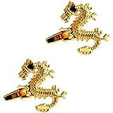 CIFIDET Gemelos de Oro con diseño de dragón y Gemelos para Hombre, con Caja de Regalo