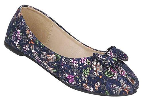 Kinder-Schuhe Ballerinas | elegante Slipper mit Blockabsatz und Schleife in verschiedenen Farben und Größen | Schuhcity24 | mit Blumen-Muster Blau
