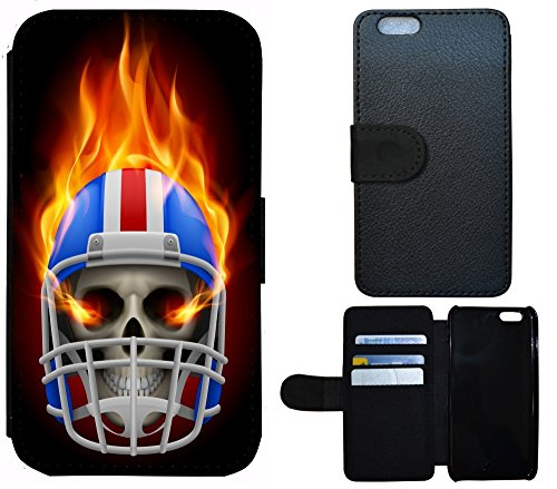 Schutz Hülle Flip Cover Handy Tasche Etui Case für (Apple iPhone 4 / 4s, 1151 Katze Katzenbaby Weiß Grau Grün) 1159 Totenkopf Skull Helm Bunt