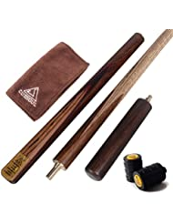 CUESOUL 57-1/4 Inch Walnut 3/4 Piece Snooker Cue-18oz