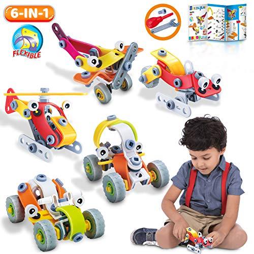 Lenbest giocattoli di costruzione 167pcs, diy auto giocattoli di montaggio kit, creativo di giocattoli per bambini - educativi di costruzione di ingegneria blocchi set - 6 in 1 giocattoli stem