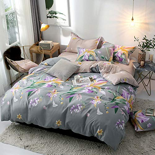 Plaids Geometrische 4 Stücke Bettbezug Set Cartoon Bettbezug Bettwäsche Und Kissenbezüge Tröster Bettwäsche Set Grau 180x220 cm -
