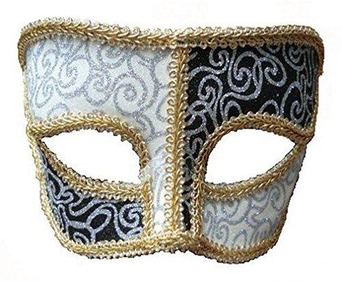 Black White Pattern Mask + Gold Trim